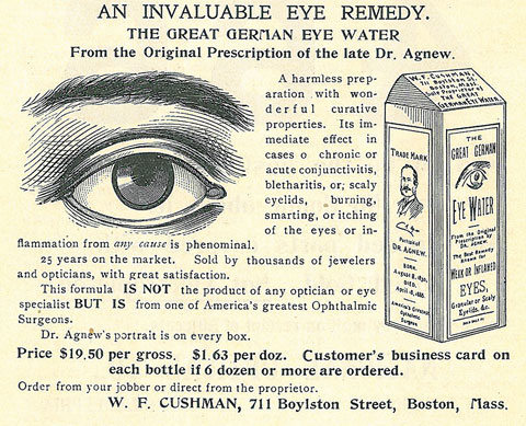 "Fig. 1. ""Dr. Agnew's portrait is on every box"" assures this 1901 ad that trades on the name of ""one of America's greatest Ophthalmic Surgeons."""