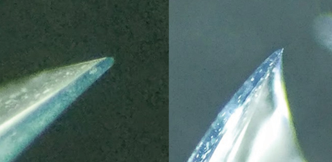 Fig. 4. Example of difference in edge profiles on -3.00D sphrerical lens designs, demonstrating a rounded, thicker edge in comifilcon A (left) and knife edge in senofilcon A (right).