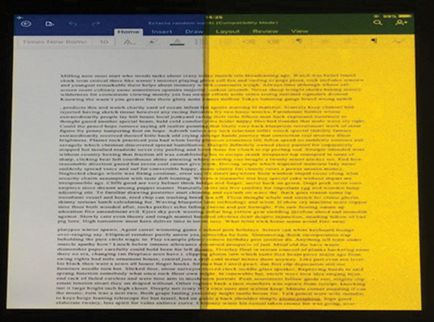 Fig. 1. This is how a computer screen appears when viewed through either a filter that blocked 99% of blue light (right) or an equiluminant 0.3log unit neutral density filter (left). This image, which shows the bright yellow appearance of the blue-blocking filter, is for illustrative purposes only. In the study, only one of the filters was present for each experimental trial.26