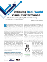 Optimizing Real-World Visual Performance - March 2018 - Sponsored by MacuHealth and M&S Technologies