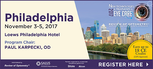 Review of Optometry's New Technologies and Treatments in Eye Care in Philadelphia, November 3-5, 2017 at Loews Hotel Philadelphia