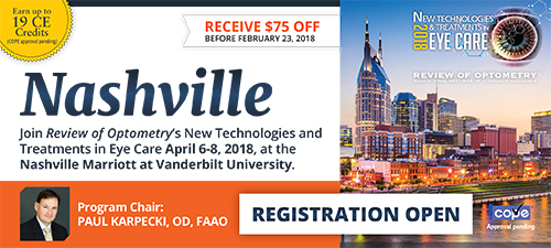 Review of Optometry's New Technologies and Treatments in Eye Care in Nashville, April 6-8, 2018, at the Nashville Marriott at Vanderbilt University